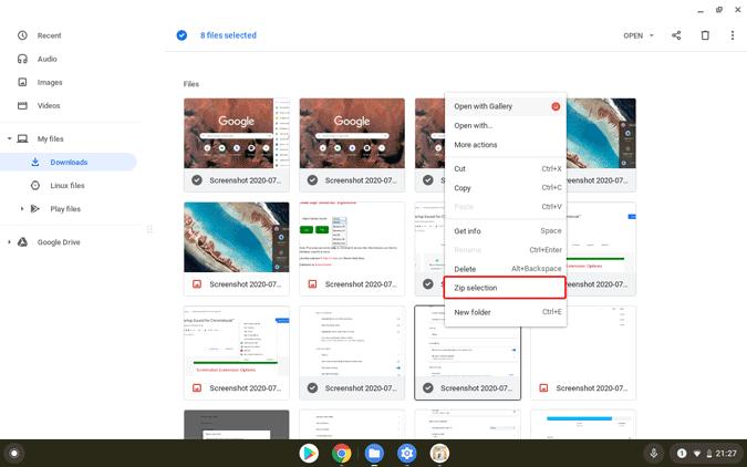 Chromebookでファイルを圧縮する方法